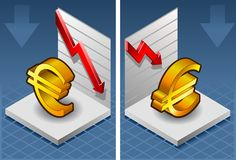 Isometric symbol of euro. With red arrow down exchange Royalty Free Stock Photography