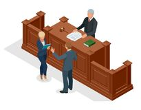 Isometric symbol of law and justice in the courtroom. Vector illustration judge bench defendant attorneys audience. Courtroom proceedings Royalty Free Stock Image