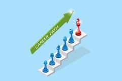 Isometric szachowi kawałki reprezentują kariera przyrosta, kariery ścieżki i biznesu pojęcia, ilustracji
