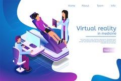 Isometric sztandar rzeczywistość wirtualna w medycynie w 3d ilustracja wektor