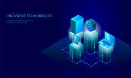 Isometric sztucznej inteligenci biznesu pojęcie Błękitny rozjarzony isometric informacja osobista dane związku komputer osobisty ilustracja wektor