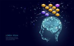 Isometric sztucznej inteligenci ludzkiego mózg neural sieci biznesu pojęcie Błękitni rozjarzeni informacja osobista dane ilustracja wektor