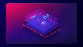 Analysis cloud app concept 3d isometric vector illustration. Isometric tablet with cloud analysis app information. Cloud application with charts graphics report Stock Images