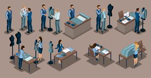 Isometric tailor, a set of mini concepts for tailors in a private tailoring company, Men and women. The entrepreneur working for. Himself, his own busines Vector Illustration