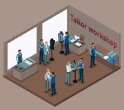 Isometric tailor, work with a client in a sewing workshop, fitting clothes, sewing fashionable clothes, many tailors. The. Entrepreneur working for himself, his Royalty Free Illustration