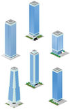 Isometric Tall City Office Buildings. A vector illustrations pack of isometric tall city office buildings which are compatible with each other in grid Stock Photo
