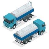 Isometric Tanker truck vector. Petroleum tanker, petrol truck, white cistern, oil trailer isolated on white background. Isometric Tanker truck vector. Petroleum stock illustration