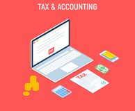 Isometric Tax and Accounting. Bills online payment. Concept of mobile payment, shoping, banking. Isolated images of accountant wor. Kspace elements money coins Royalty Free Stock Photography