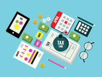 Isometric Tax time objects. Data analysis, paperwork, financial research, report. Businessman calculation tax return. Flat design elements. vector illustration Stock Photo