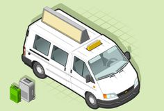 Isometric Taxi Bus in front view Stock Images