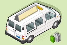 Isometric Taxi Bus in rear view Stock Photography