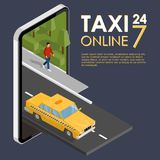 Isometric taxi driving down the street. Taxi service online. Tax. I 24/7. Place for text. Vector illustration Stock Image
