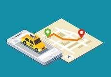 Isometric taxi location and map. Mobile app and geo tracking Royalty Free Stock Photos
