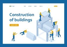 Isometric team of builders create a building vector illustration