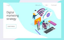 Isometric team of specialists working on digital marketing strategy landing page stock illustration
