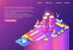 Isometric technology concept. Business 3D background, modern infographic design, futuristic web page. Vector isometric royalty free illustration
