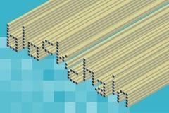 Isometric tekst blockchain sformułowania z kwadratowym mozaiki tłem ilustracja wektor