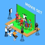 Isometric Telecommunication Composition. Telecommunication isometric composition with shooting of movie about superheroes on blue background 3d vector Royalty Free Stock Image