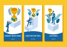 Isometric Build a career, Businessman Succeed. Isometric Template app Build a career, businessman climbs the big Golden mountain, succeed, smartphone apps vector illustration