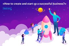Isometric Bright Startup by Young Entrepreneurs vector illustration