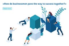 Isometric Employees Working to Create Solutions stock illustration