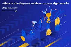 Isometric Start to Grow and Succeed Right Now. Isometric Template banner article Start to grow and succeed right now, Business concept stock illustration
