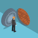Isometric thief with vault door with brick wall inside Royalty Free Stock Photo