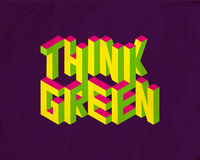 Isometric Think Green quote background Stock Photography