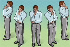 Isometric Thoughtful Standing Man Stock Images