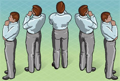 Isometric Thoughtful Standing Man Royalty Free Stock Photo