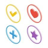 Isometric tick icon. Isometric heart icon. Isometric star icon. Isometric plus sign icon. Stock Photo