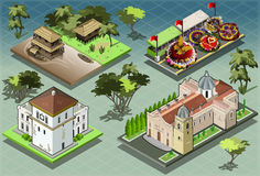 Isometric Tiles of South American Buildings vector illustration