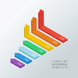 Isometric timeline infographic design template.Vector illustration. Isometric timeline infographic design template.Vector illustration for workflow layout royalty free stock photography