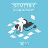 Isometric tired businessman unplug and stop working Royalty Free Stock Image