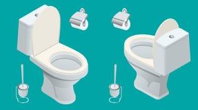 Isometric Toaletowa wyposażenie kolekcja dla wewnętrznego projekta Set różna toaleta tonie typ również zwrócić corel ilustracji w royalty ilustracja