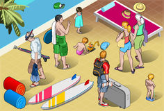 Isometric Tourists Peoples Set at Resort Royalty Free Stock Photo