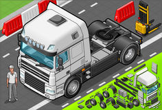 Isometric Tow Truck Only Cab in Front View Royalty Free Stock Image