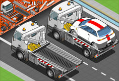 Isometric Tow Truck in Car Assistance in Rear View Royalty Free Stock Photography