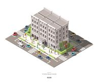 Isometric town buildings with people, car and tree vector icon. Design royalty free illustration