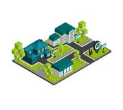 Isometric Town Concept Royalty Free Stock Image