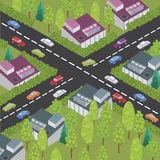 Isometric town and road Royalty Free Stock Image