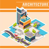 Isometric town street with buildings, cafe on the river Royalty Free Stock Photos