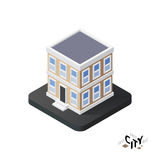 Isometric townhouse icon, building city infographic element, vector illustration Stock Images