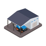 Isometric tractor for repairs at the garage Stock Image