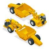 Isometric tractor-scraper ροδών Tractor-scraper ροδών, βαρύς εξοπλισμός που χρησιμοποιείται για την κίνηση της γης μεταλλουργική  απεικόνιση αποθεμάτων