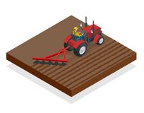 Isometric Tractor works in a field. Agriculture machinery. Plowing in the field. Heavy agricultural machinery for. Fieldwork. Vector illustration Royalty Free Stock Photo