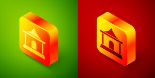 Isometric Traditional chinese house icon isolated on green and red background. Square button. Vector