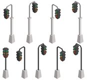 Isometric traffic lights a selection of iron and concrete stock illustration