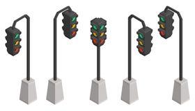 Isometric traffic lights stock illustration