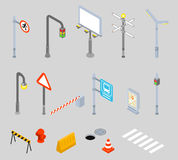 Isometric traffic management. Urban 3D vector icons. Isometric traffic management icons. Urban 3D vector street traffic icons. Street signs, zebra crossing and Royalty Free Stock Photos